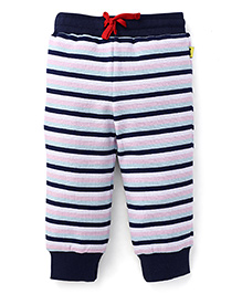 Tiny Bee Stipped Cuff Pant - White & Navy Blue