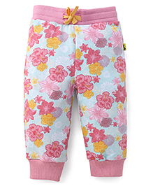 Tiny Bee Floral Cuff Pant - Green & Pink
