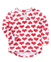 Tiny Bee Heart Print Full Sleeve Tee - White & Red