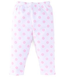 Tiny Bee Print Polka Legging - White & Pink