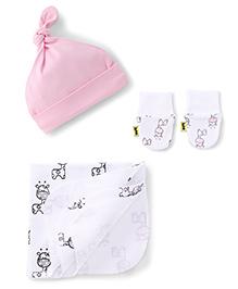 Tiny Bee Kids Cap Hanky & Mitten Set - Light Pink
