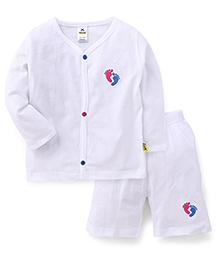 Tiny Bee Embroidered Jabla Top With Shorts Set -White