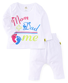 Tiny Bee Printed Envelop Tee With Diaper Leggings - White