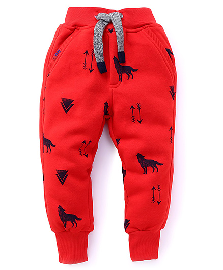 Little Kangaroos Fleece Track Pants Wolf Print - Red