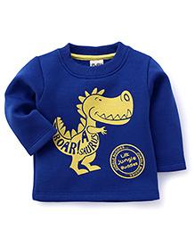 Little Kangaroos Full Sleeves T-Shirt Dinosaur Print - Blue
