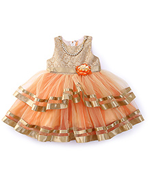 Bluebell Sleeveless Party Wear Frock With Attached Necklace - Orange & Gold