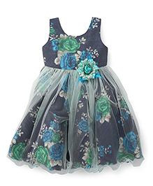 Bluebell Sleeveless Party Frock Flower Applique - Blue