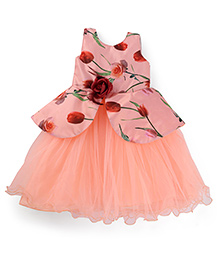 Bluebell Sleeveless Party Frock With Purse Flower Applique - Peach