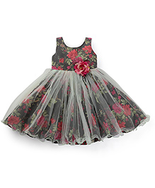 Bluebell Sleeveless Party Frock Flower Applique - Dark Grey