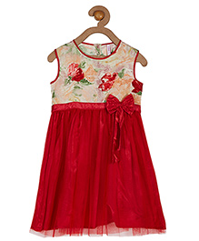 Campana Sleeveless Dress With Floral Print - Red