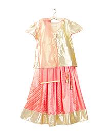 Campana Cap Sleeves Choli Lehenga And Dupatta Set - Peach And Gold