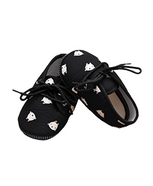 Daizy Baby Booties Kitty Face Print - Black