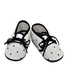 Daizy Dot Print Baby Booties - White