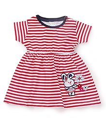 Babyhug Short Sleeves Stripe Frock Rabbit Embroidery - Dark Pink White