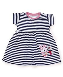 Babyhug Short Sleeves Stripe Frock Rabbit Embroidery - Navy White