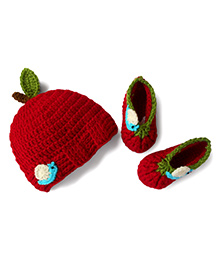 Dollops Of Sunshine Apple Cap And Booties Set - Red