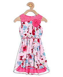 612 League Sleeveless Printed Party Wear Dress - Pink