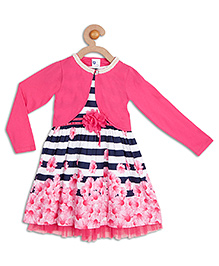612 League Shrug Dress With Floral Border - Pink