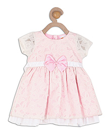 612 League Short Sleeves Party Frock Bow Applique - White Pink