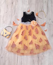 M'Princess Elegant Frill Dress - Orange