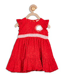 612 League Short Sleeves Party Frock Flower Applique - Red