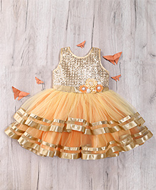 M'Princess Shimer Sleeveless Dress - Gold