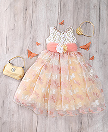 M'Princess Stylish Frill Dress - White & Pink