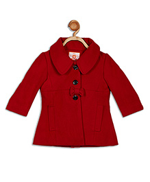 612 League Full Sleeves Party Wear Jacket Bow Appliques - Red