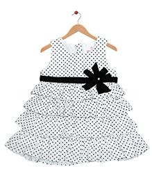 Young Birds Polka Dot Layered Dress - White & Black