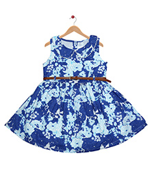 Young Birds Floral Colar With Belt Dress - Blue