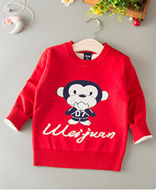 Dells World Monkey Print Sweater - Red
