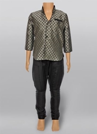 Full Sleeves Kurta And Jodhpuri Pajama - Grey And Black