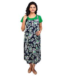 MomToBe Half Sleeves Maternity Dress Paisley Print - Green