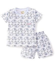 Olio Kids T-Shirt And Shorts Set Elephant Print - White And Light Blue