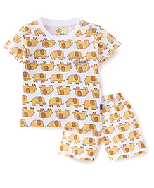 Olio Kids T-Shirt And Shorts Set Elephant Print - White And Brown