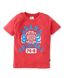 Olio Kids Half Sleeves Printed T-Shirt - Salmon Peach