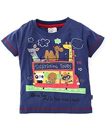 Olio Kids Half Sleeves T-Shirt Animal Print - Navy