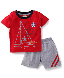 Olio Kids Half Sleeves T-Shirt And Shorts Set Captain Adorable Print - Red & Grey