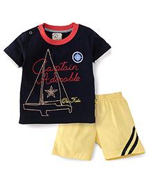 Olio Kids Half Sleeves T-Shirt And Shorts Set Captain Adorable Print - Navy & Yellow