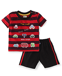 Olio Kids T-Shirt And Short Set Bus Stop Print - Red And Black