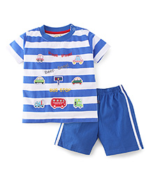 Olio Kids T-Shirt And Short Set Bus Stop Print - Blue And White