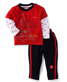 Olio Kids T-Shirt And Pant Set Captain Adorable Print - Red And Navy