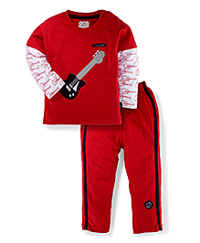 Olio Kids Doctor Sleeves T-Shirt And Pant Set Guitar Print - Red And White