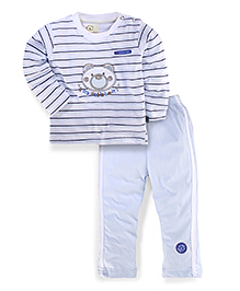 Olio Kids T-Shirt And Pant Set Bear Patch - Light Blue And White