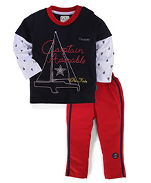 Olio Kids T-Shirt And Pant Set Captain Adorable Print - Red And Black