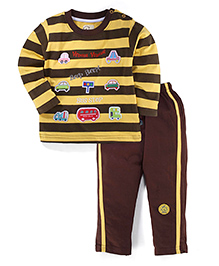 Olio Kids T-Shirt And Pant Set Stripes Pattern - Yellow And Black