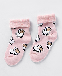 Mustang Sheep Design Socks - Pink