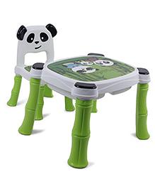 Panda Print Table And Chair Set - White Green