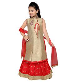 Enfance Zari Work Kurta Ghagra & Dupatta Set - Golden & Red