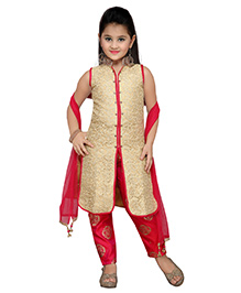 Enfance Indo Western Long Top Pant Set - Cream & Magenta